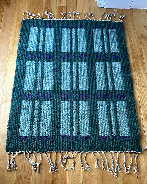 "Light & Dark Green Handwoven Two Sided Block Rug (35""x28"")"