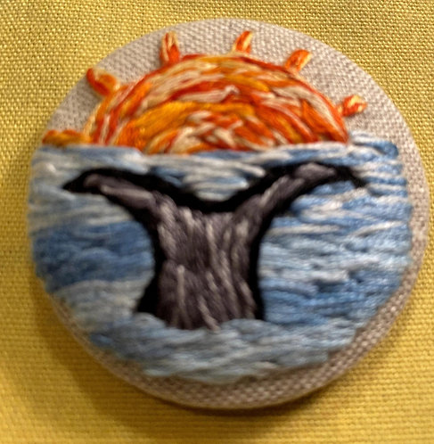 "Whale's Tail Hand Embroidered Button - 1 7/8"" round"