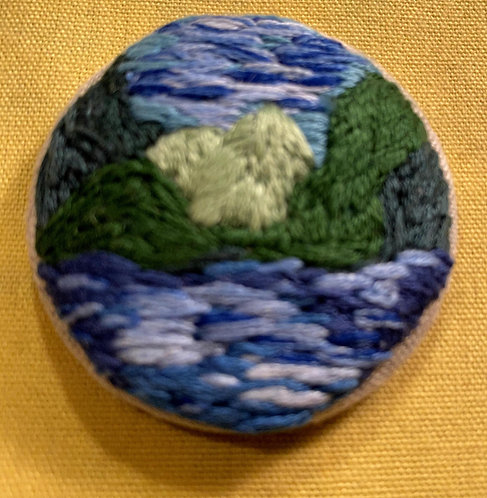"""Green Mountains Hand Embroidered Button - 1 7/8"""" round"""