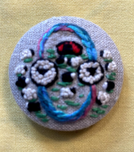 """The letter """"O"""" Hand Embroidered Button - 1 7/8"""" round"""