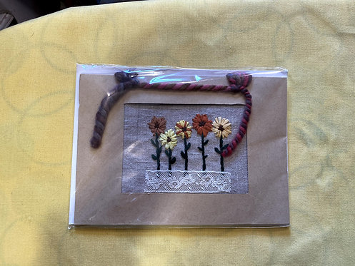 "Hand Embroidered Card - Five Sunflowers (5""x7"")"