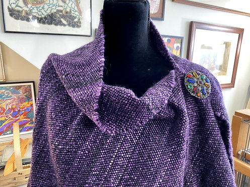 Shades of Purple Merino and Tencel Handwoven and Handspun Poncho