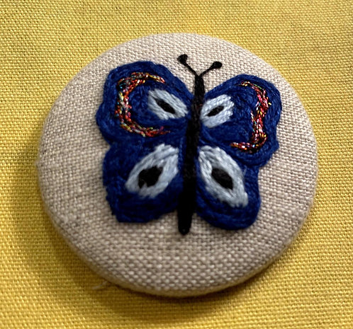 "Butterfly Hand Embroidered Button - 1 7/8"" round"