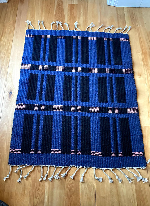 "Blue, Black, and Pink Handwoven Two Sided Block Rug (35""x28"")"
