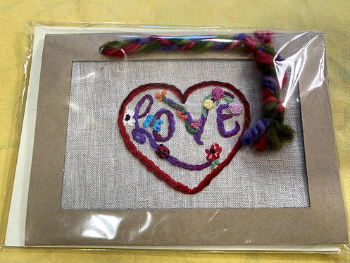 "Hand Embroidered Card - LOVE (5""x7"")"
