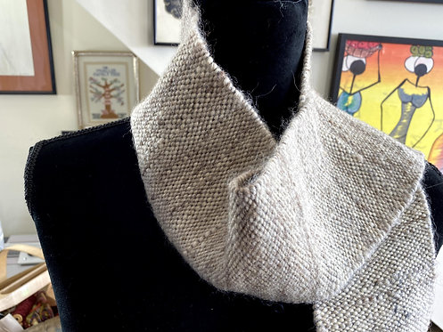 "Handwoven and Handspun Natural Grey Scarf (68"" x 4.5"")"