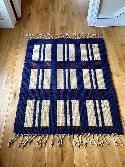 "Red, White, & Blue Handwoven Two Sided Block Rug (35""x28"")"