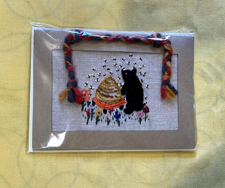 "Hand Embroidered Card - Honey Bear (5""x 7"")"