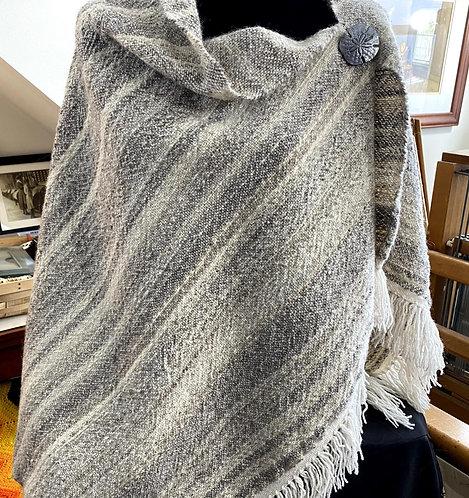Natural Shades of Grey Wool Handwoven and Handspun Poncho