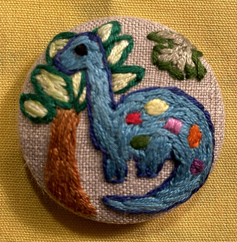 "Dinosaur Hand Embroidered Button - 1 7/8"" round"