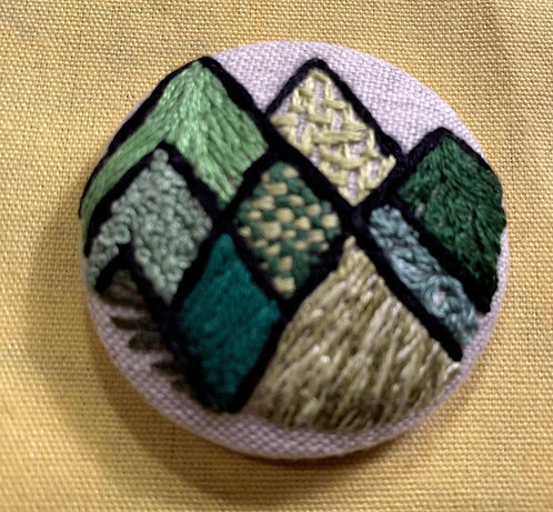 "Abstract Mountains Hand Embroidered Button - 1 7/8"" round"