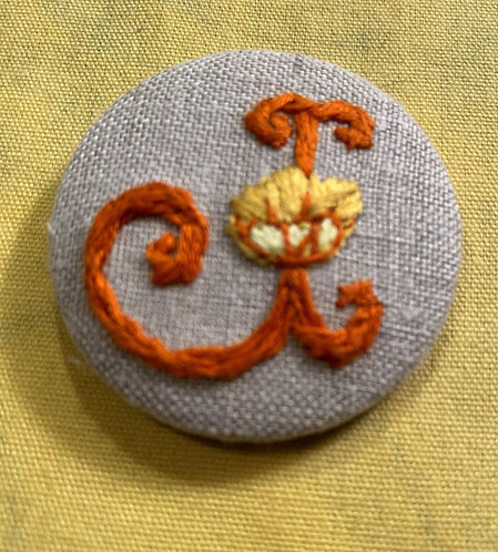 "Letter ""J"" Hand Embroidered Button - 1 7/8"" round"