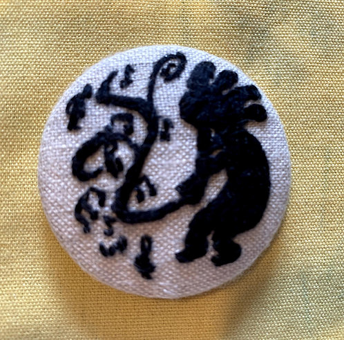 "Musical Kokopelli Hand Embroidered Button - 1 7/8"" round"