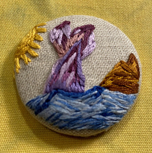 "Mermaid Tail Hand Embroidered Button - 1 7/8"" round"