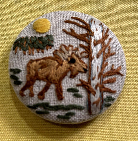 "Moose Hand Embroidered Button - 1 7/8"" round"