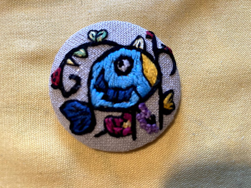 "Funky Bluebird Hand Embroidered Button - 1 7/8"" round"