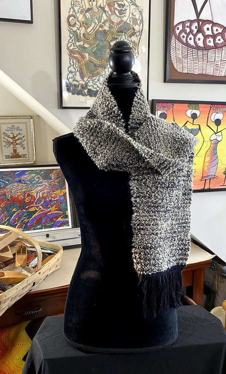 """White and Black Handwoven Boucle Scarf (54"""" x 7"""")"""