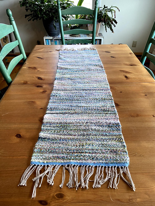 """Shades of Spring Handwoven and Handspun Table Runner (42"""" x 13"""")"""
