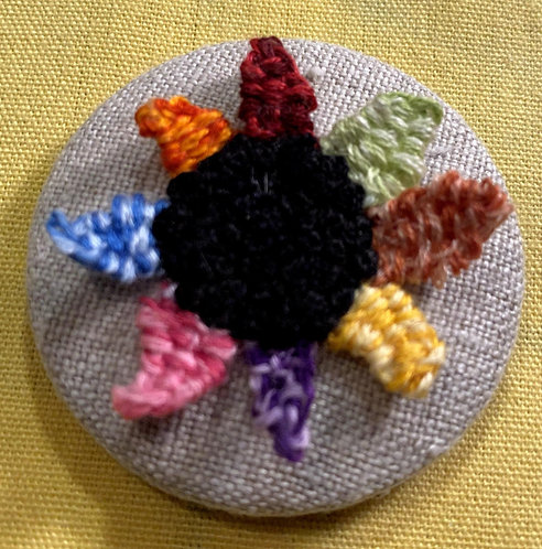 "Flower with Raised Colored Petals Hand Embroidered Button - 1 7/8"" round"