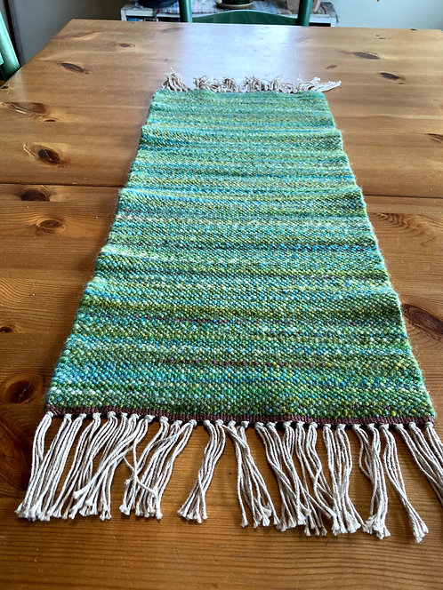 """Shades of Green and Brown Handwoven and Handspun Table Runner (24"""" x 11)"""