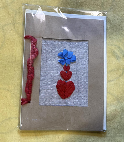 "Hand Embroidered Card - Three Hearts Card (5""x7"")"