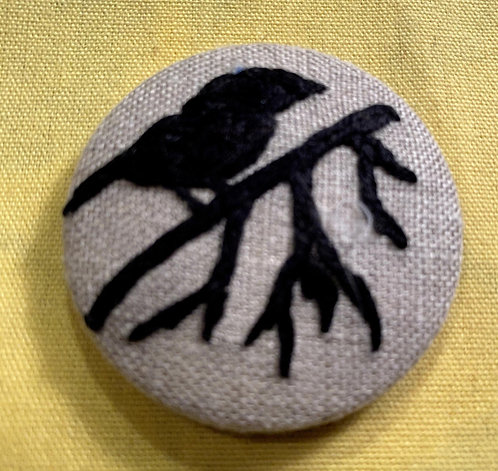 "Raven Hand Embroidered Button - 1 7/8"" round"