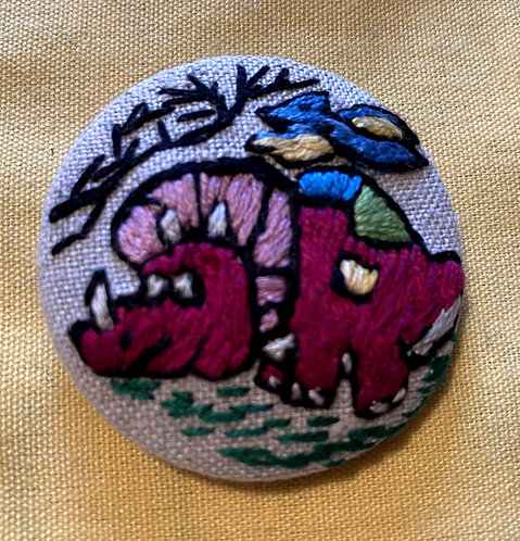 "Triceratop  and Pterosaur Dinosaurs Hand Embroidered Button - 1 7/8"" round"