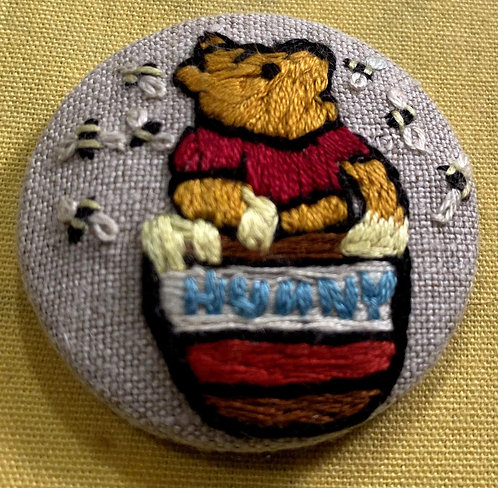 """Honey Pooh Bear Hand Embroidered Button - 1 7/8"""" round"""