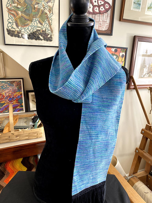 "Shades of Blue Handwoven Chenille Scarf (60"" x 6"")"