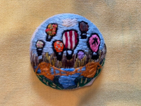 "Hot Air Balloon Festival Hand Embroidered Button - 1 7/8"" round"