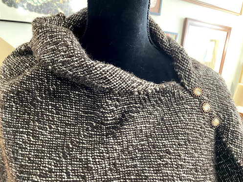 Handwoven and Handspun Poncho - Natural Brown Shetland Top
