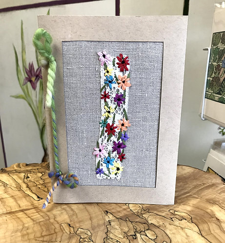 "Ribbon Stitched Flowers on Lace (5"" x 7"")"