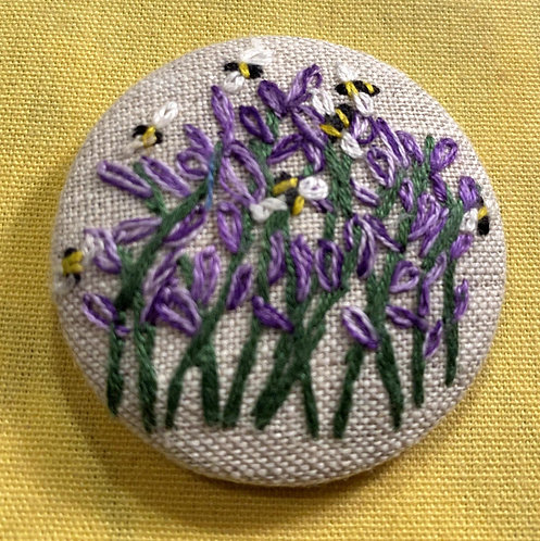 """Lavender and Bees Hand Embroidered Button - 1 7/8"""" round"""