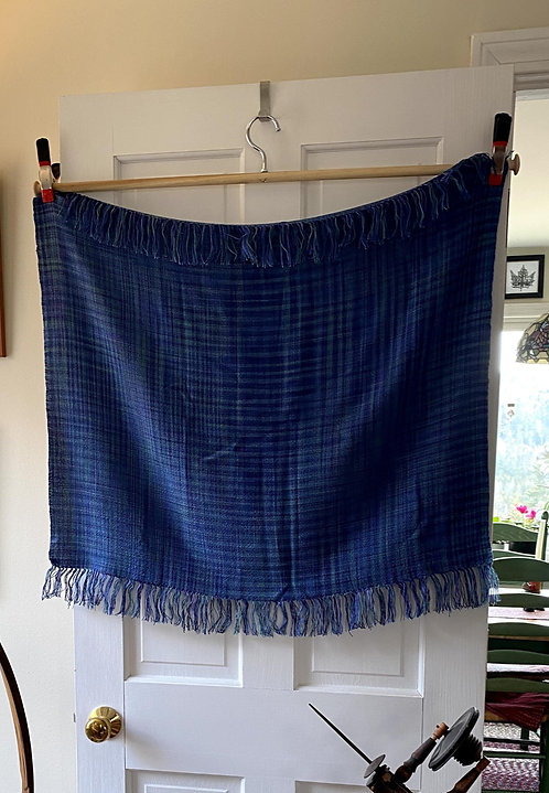 """Shades of Blue Handwoven Tencel Baby or Lap Blanket (32""""x25"""")"""