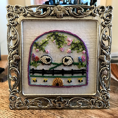 Spring Sheep and Bees Hand Embroidered Picture