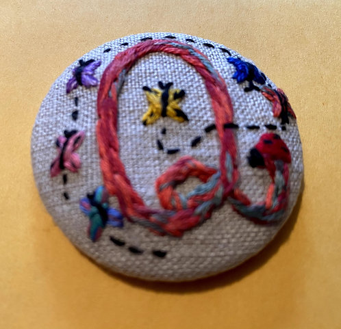 "The Letter ""Q"" Hand Embroidered Button - 1 7/8"" round"