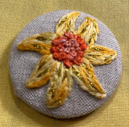 "Gold Flower Hand Embroidered Button - 1 7/8"" round"