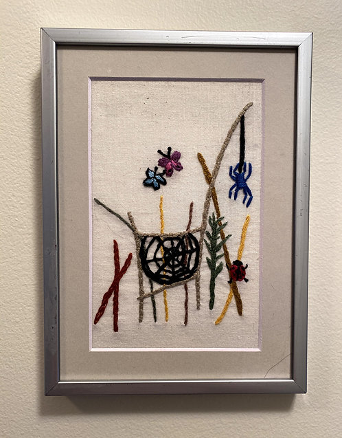 Spider Hand Embroidered Picture