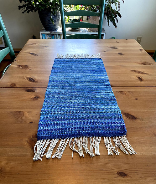 "Shades of Blue & Green Handwoven and Handspun Table Runner - 24""x11"""