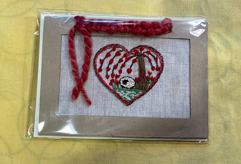 """Hand Embroidered Card - Sheep with Tree of Hearts (5""""x 7"""")"""