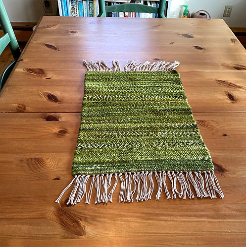 """Shades of Green Handwoven and Handspun Table Runner (17.5"""" x 12"""")"""