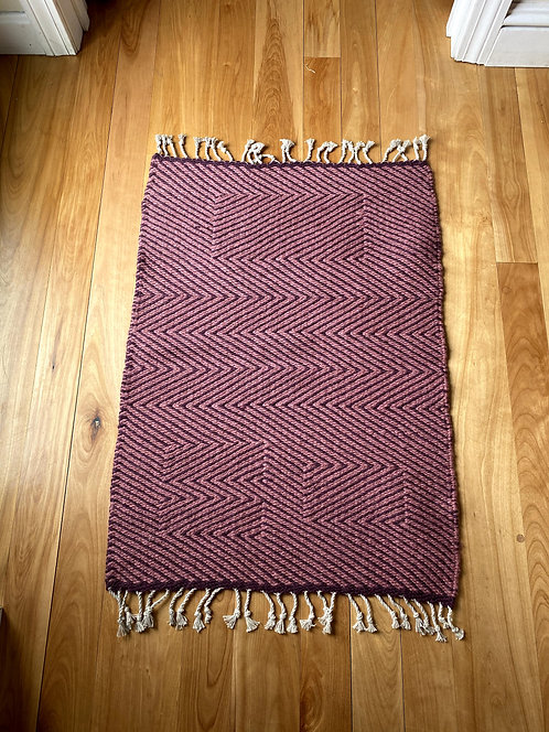 """Dark Pink and Rose Optical Twill Two-Sided Handwoven Rug (30""""x22"""")"""