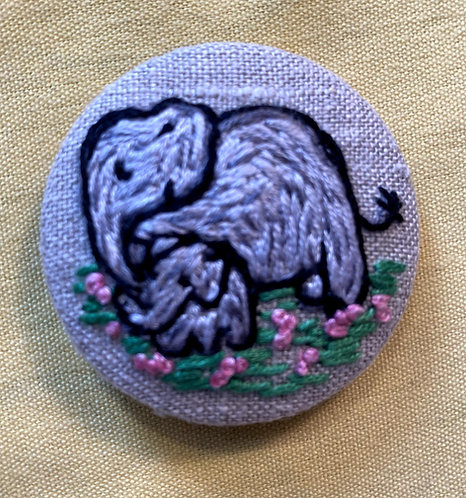 "Moma and Baby Elephant Hand Embroidered Button - 1 7/8"" round"