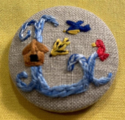 "Letter ""L"" Hand Embroidered Button - 1 7/8"" round"