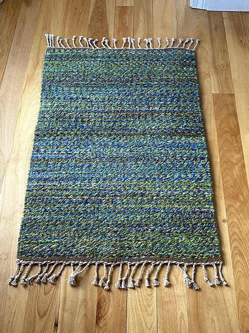 "Shades of Green Handspun and Handwoven Rug (32"" x 22"")"