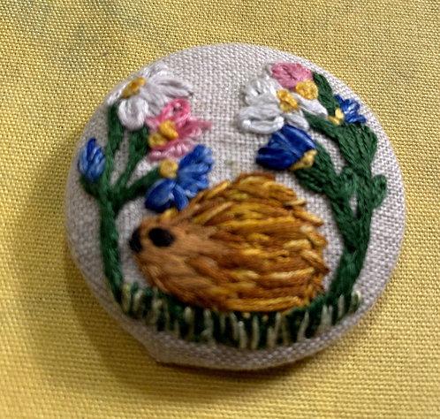 """Hedgehog Hand Embroidered Button - 1 7/8"""" round"""