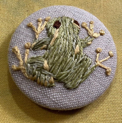"Green Frog Hand Embroidered Button - 1 7/8"" round"