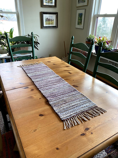 """Shades of Brown & Gray Handwoven and Handspun Table Runner (39"""" x 12"""")"""