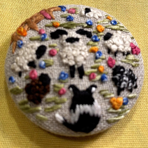 "Sheepdog and Sheep Hand Embroidered Button - 1 7/8"" round"