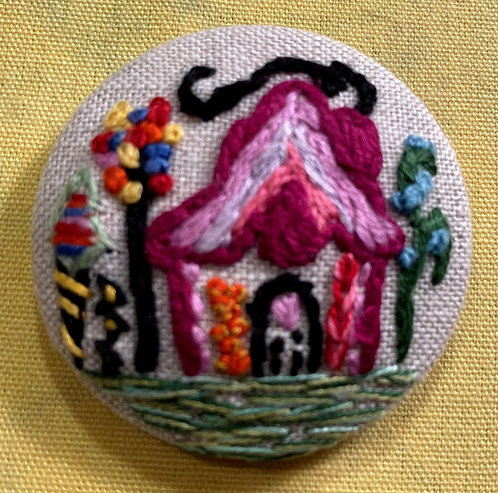"""Fairy House Hand Embroidered Button - 1 7/8"""" round"""
